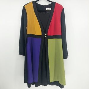 Vintage Jeffrey Dara Color Block Long Sleeve Dress